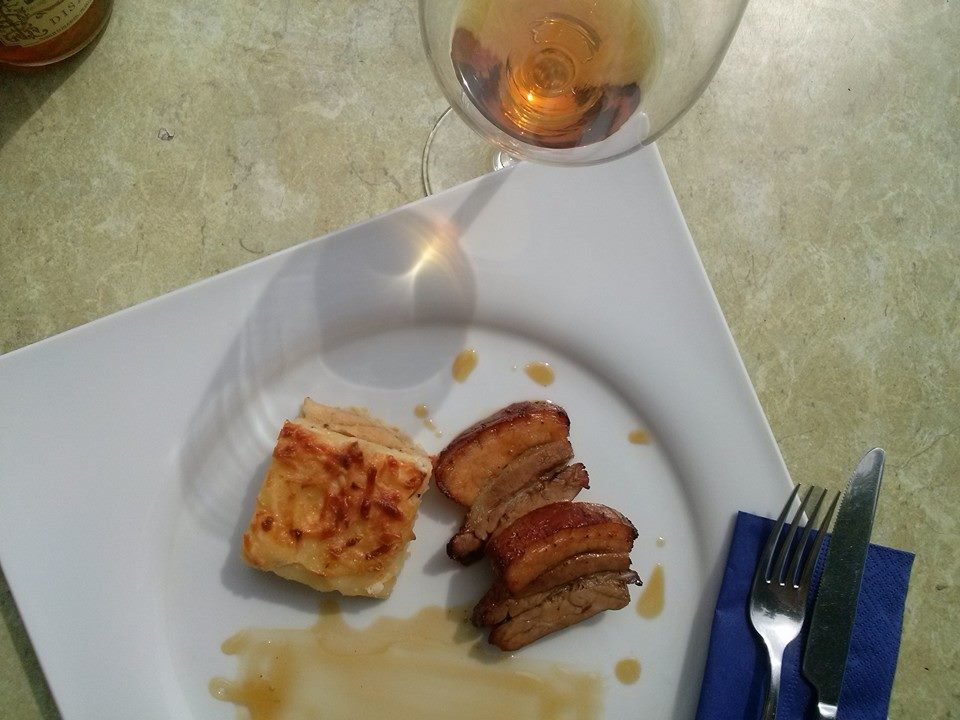 mangalica pork with potato gratin and Aszu reduction