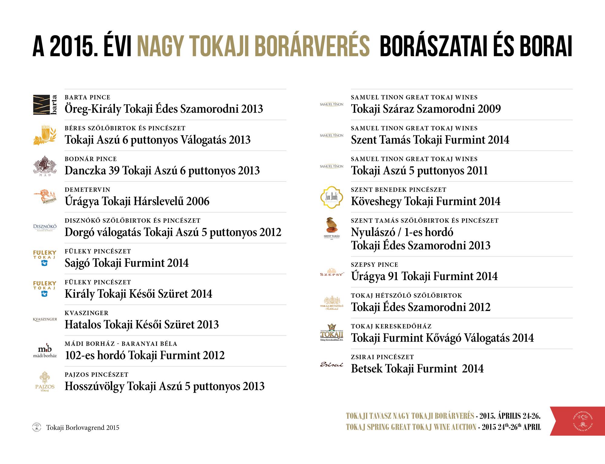 A 2015. évi Nagy Tokaji Borárverés borászatai és borai