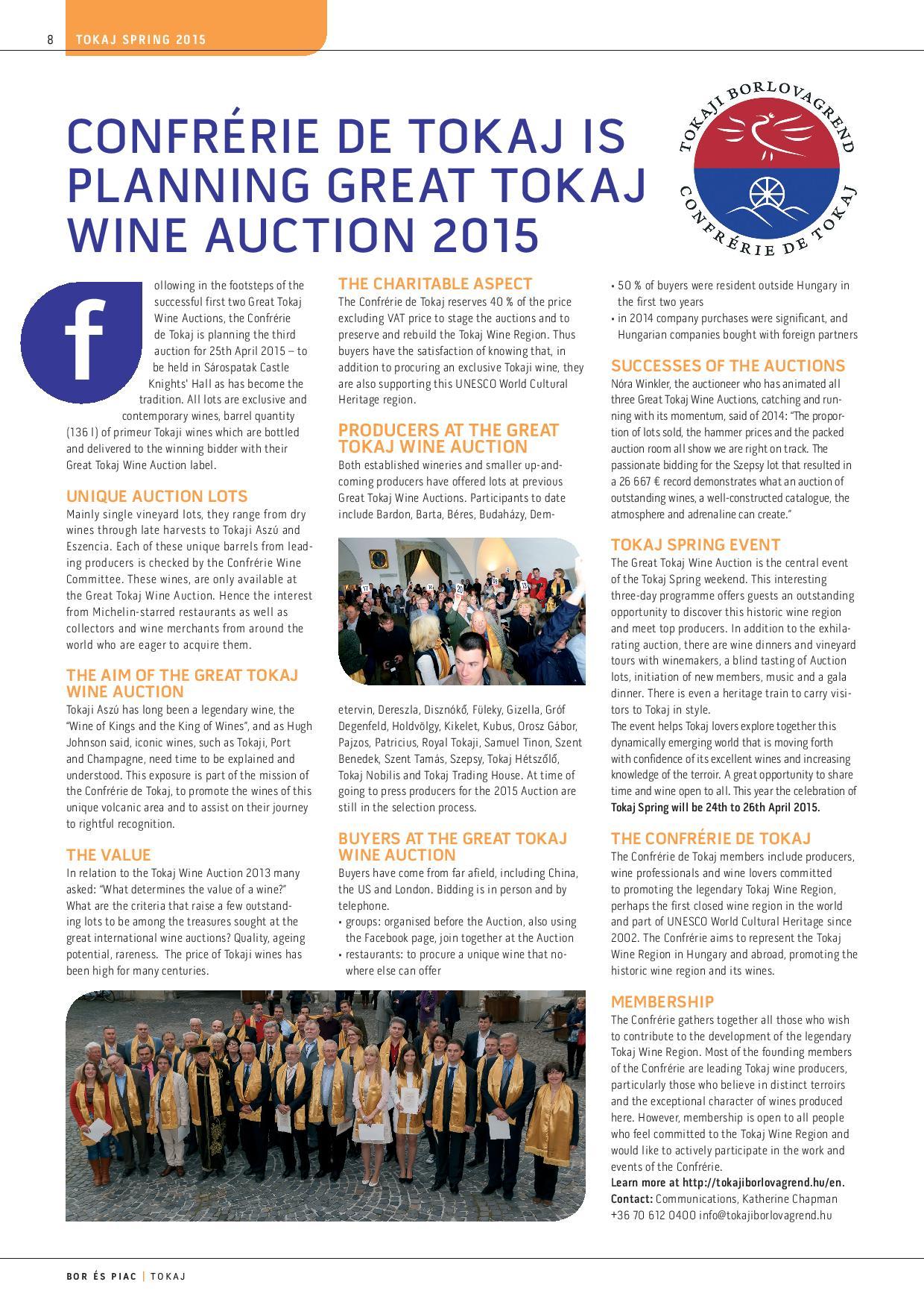 Confrerie auction bor es piac