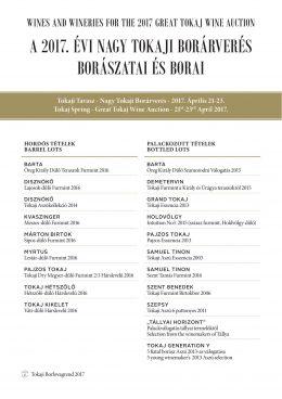 A 2017. évi Nagy Tokaji Borárverés Borászatai és Borai